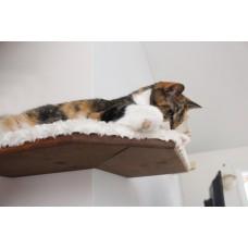 Fabric Covered Corner Cat Wall Shelf