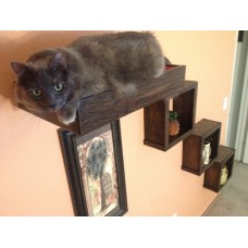 Artisan Made - (3) Floating Cat Wall Cubes + (1) Cat Wall Bed