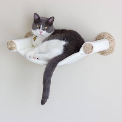 Cat Hammock - Wall Mounted Cat Bed - Cream